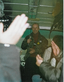 Torsten Jönsson singing karaoke in a Chinese tour bus